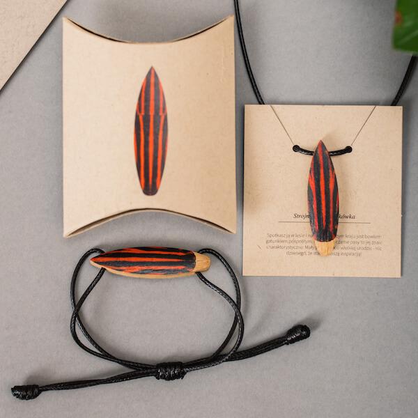 drewniane naszyjniki insekty, drewniane bransoletki insekty