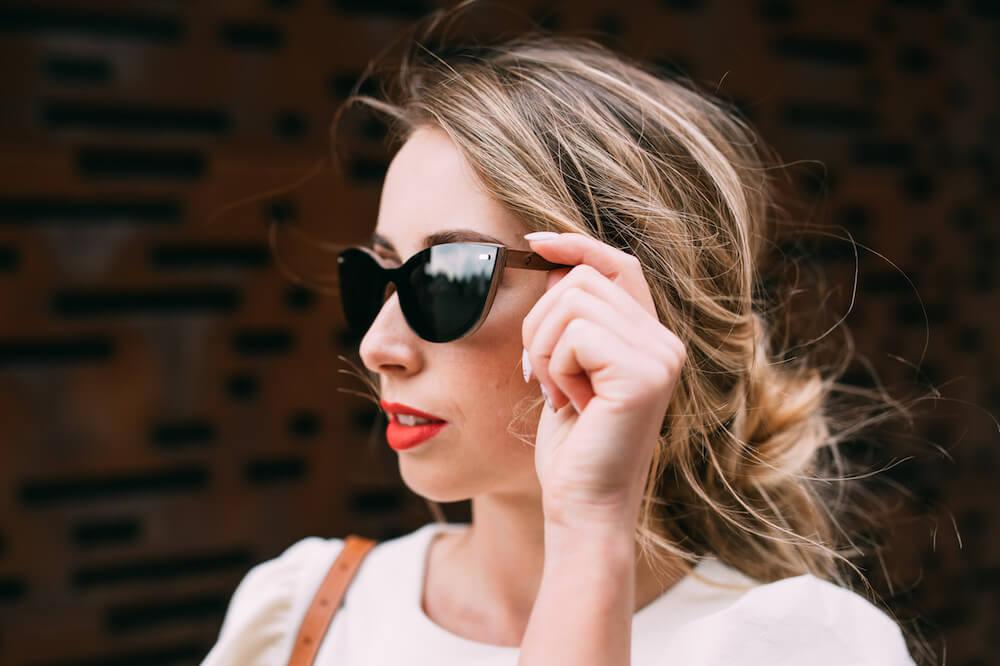 drewniane okulary przeciwsloneczne lustrzana soczewka czarne