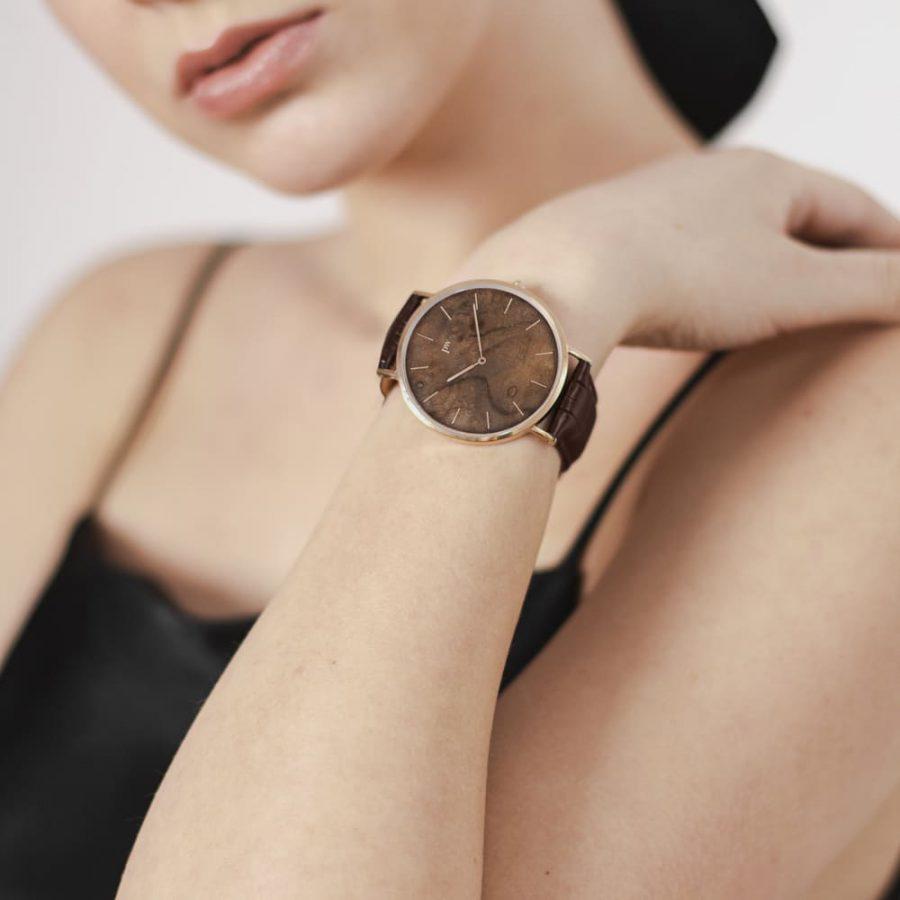 zegarek kolekcja blend czeczota rose gold brązowy pasek