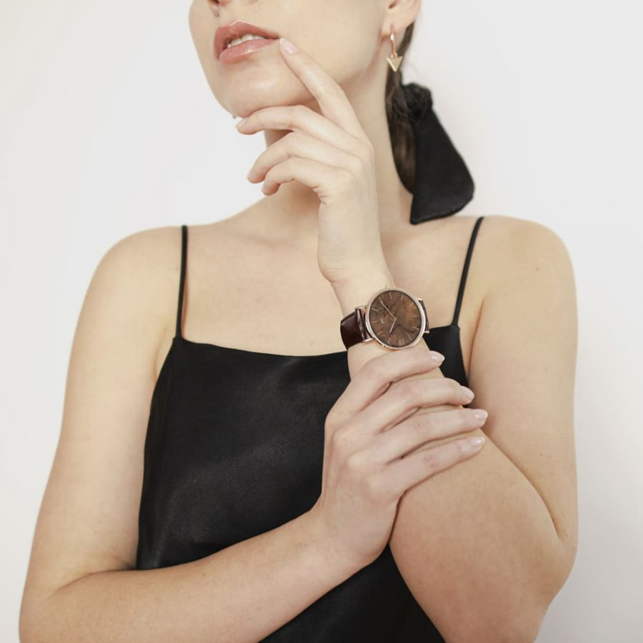 Zegarek Kolekcja Blend - Czeczota - Rose Gold - Brązowy Pasek