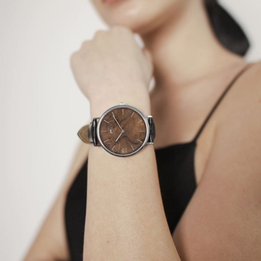 Zegarek Kolekcja Blend - Czeczota - Silver - Czarny pasek