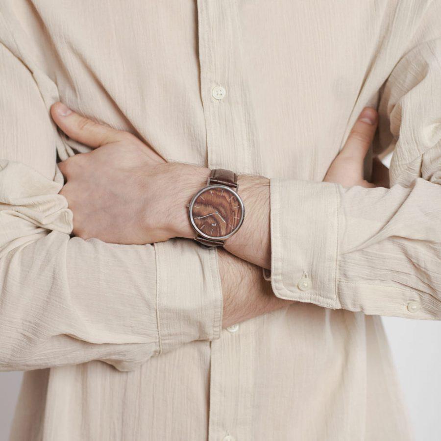 Zegarek Kolekcja Blend - Muscato - Silver - Brązowy Pasek