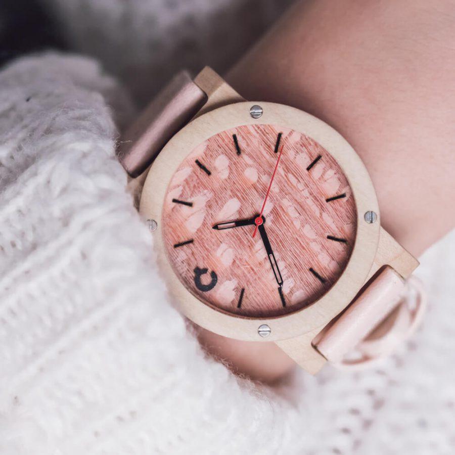 drewniany zegarek damski, zegarek flake rose