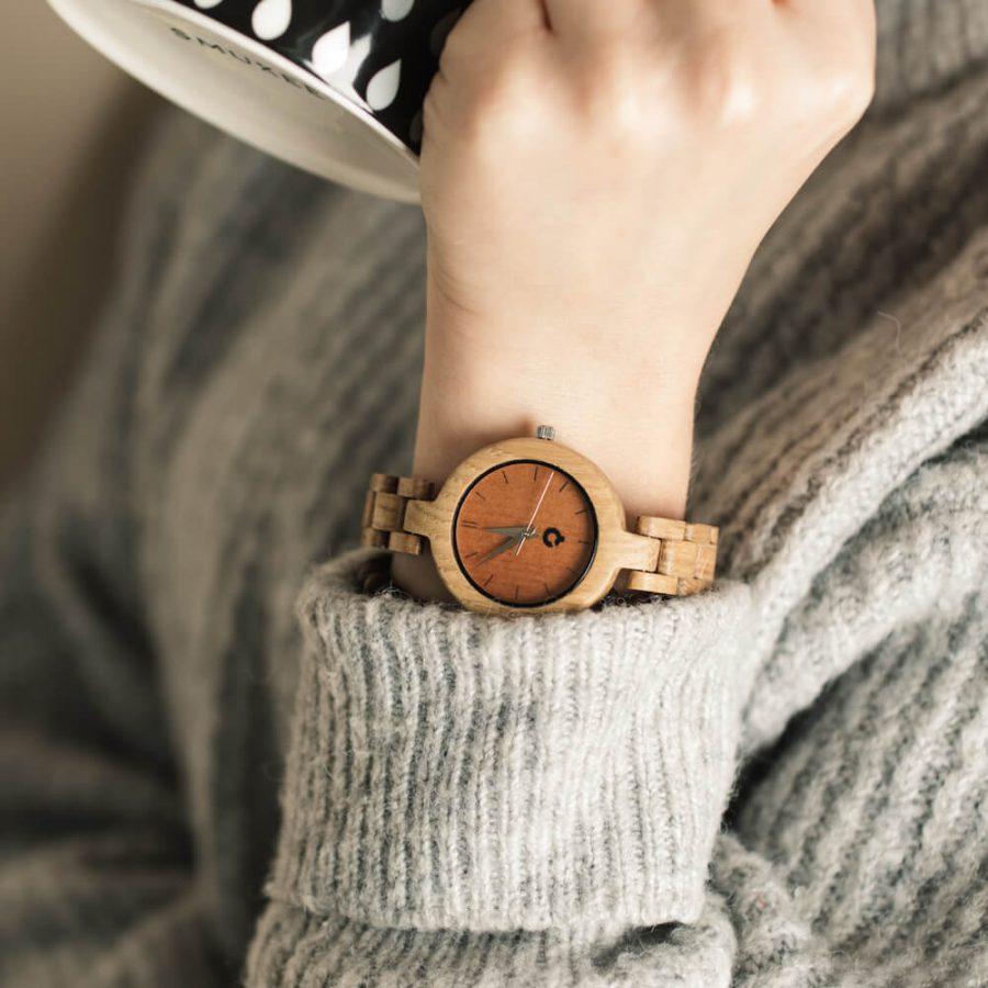drewniany zegarek glamour