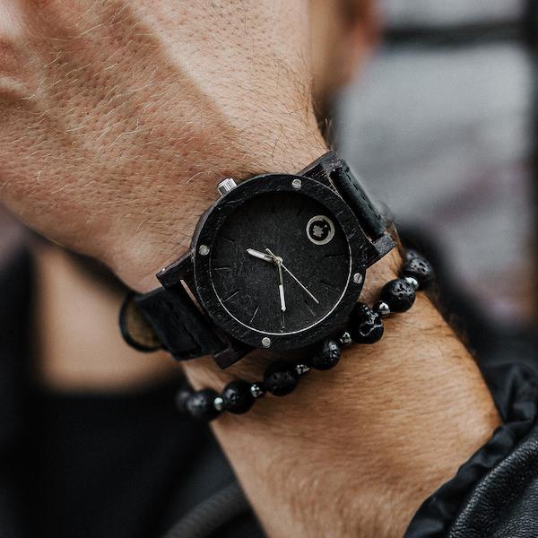 drewniany zegarek raw double stone heban