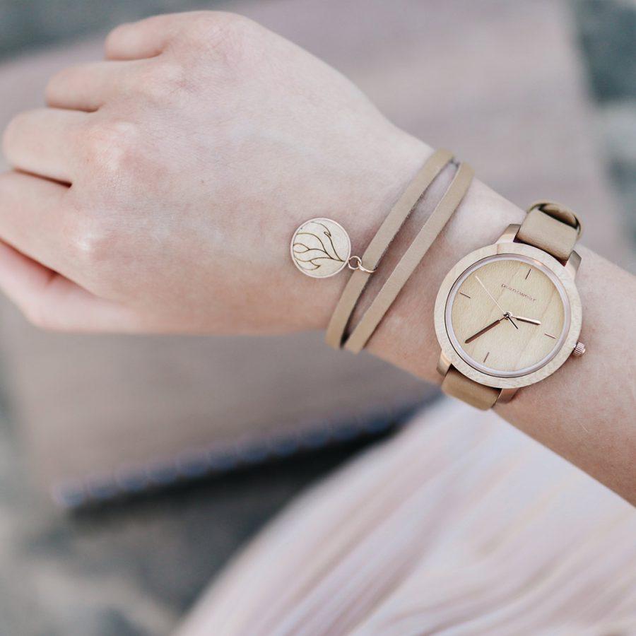 drewniany zegarek Plantwear, zegarek fusion, skórzana bransoletka