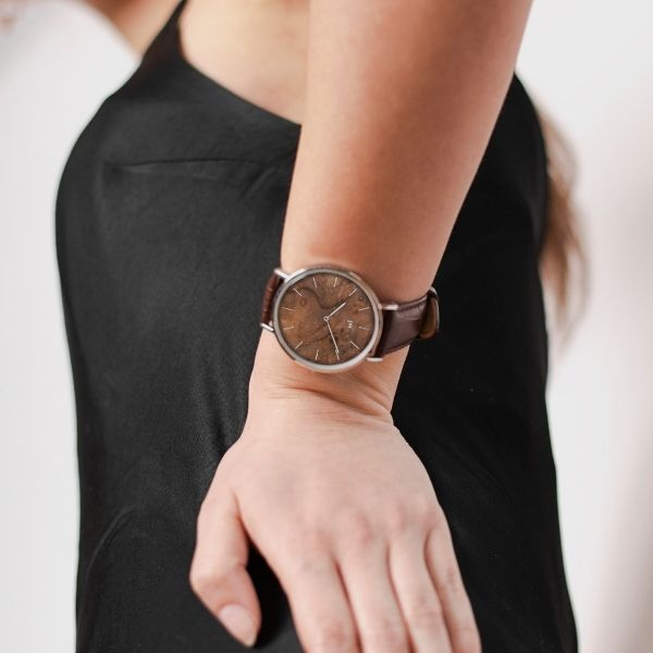 Zegarek Kolekcja Blend - Czeczota - Silver - Brązowy pasek