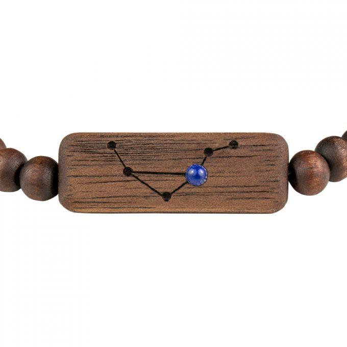 drewniana bransoletka ze znakiem zodiaku waga