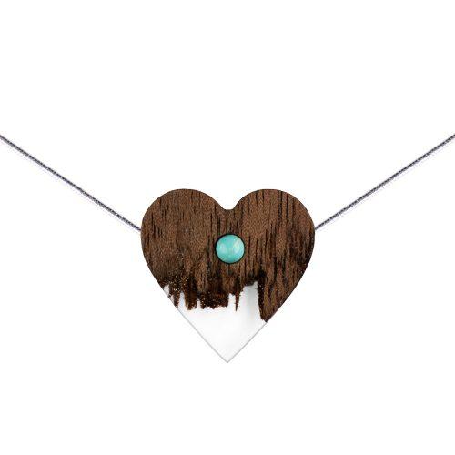 Drewniane naszyjniki Plantwear, drewniany naszyjnik serce