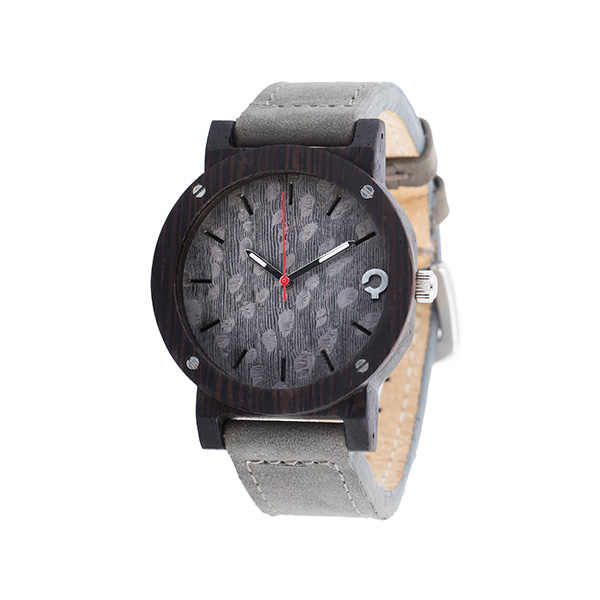 drewniany zegarek flake gray heban, polski zegarek
