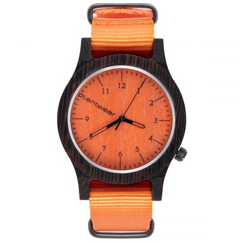 polski zegarek na rękę, plantwear_pl_packshot_drewniane_zegarki_heritage_orange_edition_heban_1