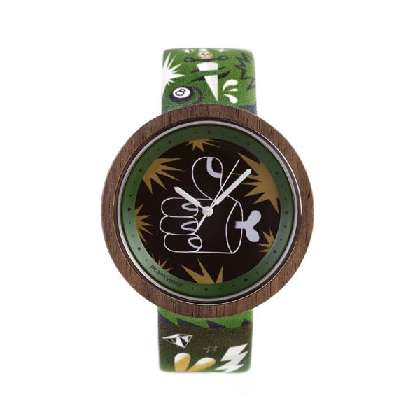 drewniany zegarek print rock and roll