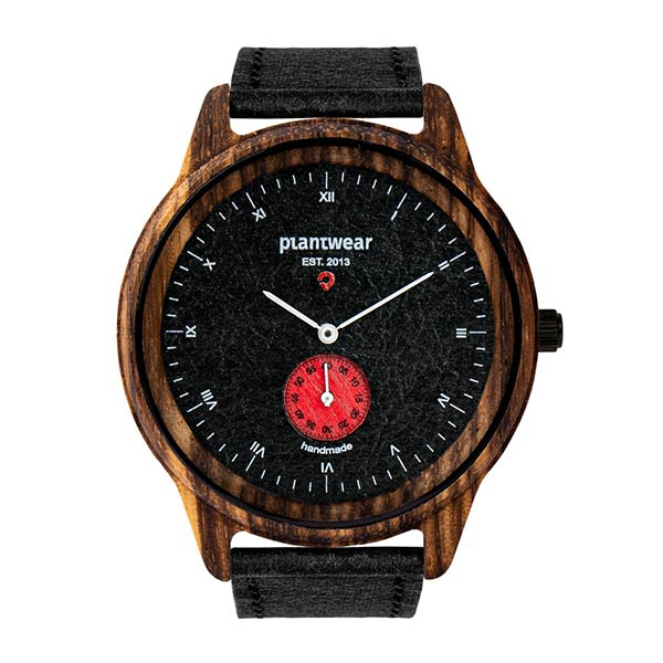 drewniany zegarek pure carbon, wegański zegarek