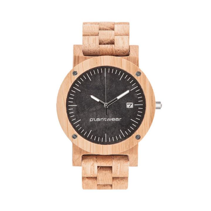 polski zegarek na rękę, plantwear_pl_packshot_drewniane_zegarki_raw_dab_bransoleta_1
