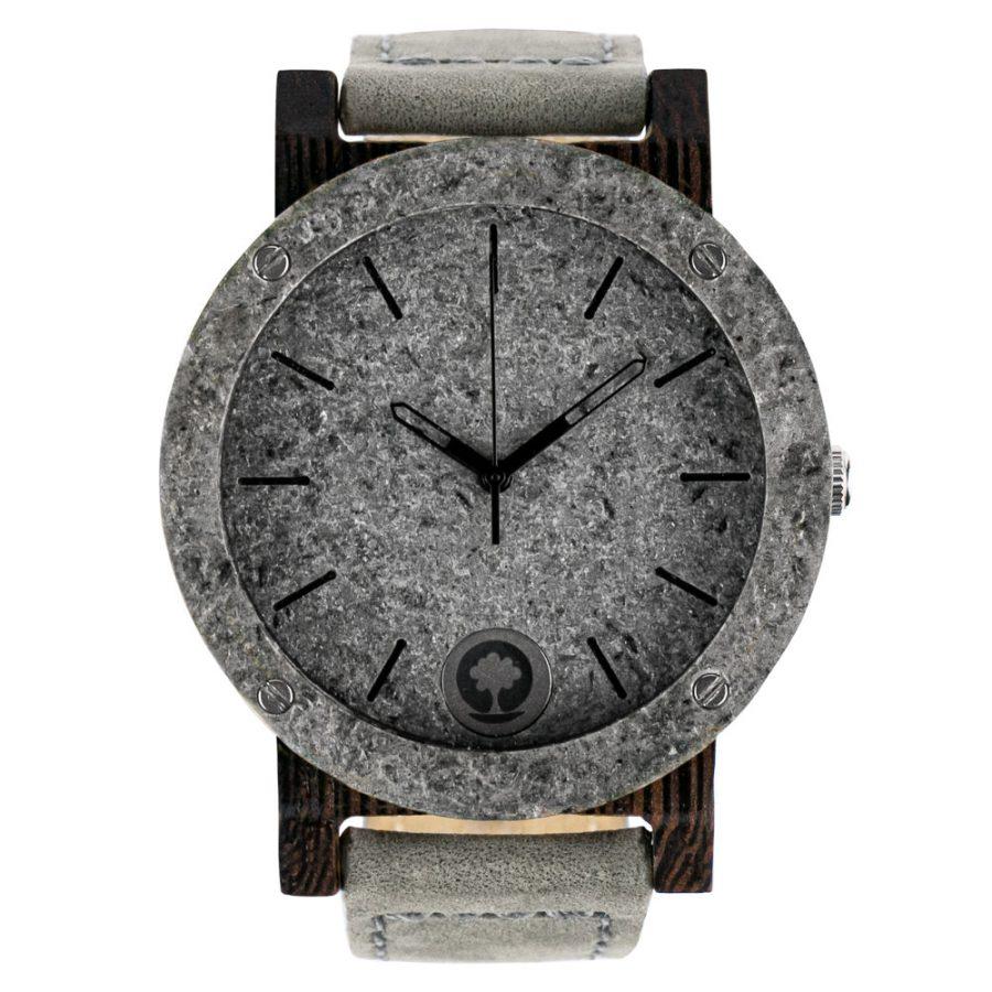 polski zegarek drewniany Plantwear raw double silver heban skóra