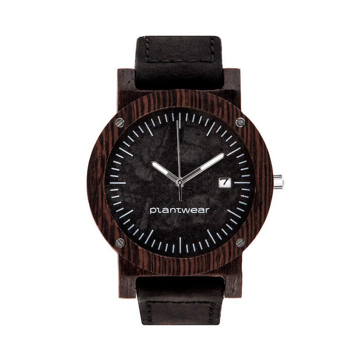 polski zegarek na rękę, plantwear_pl_packshot_drewniane_zegarki_raw_heban_skora_01