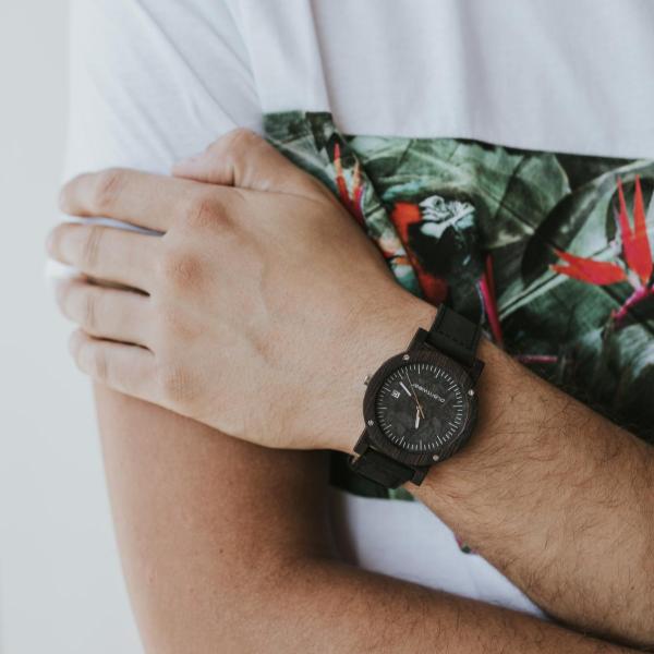 drewniany zegarek raw heban
