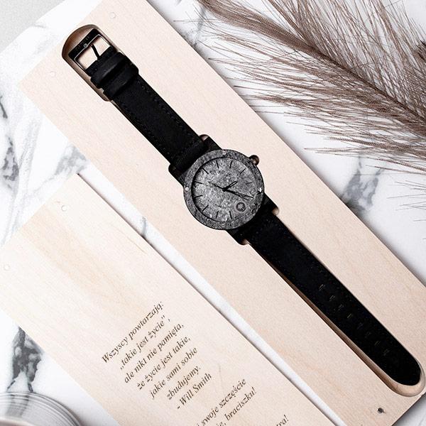drewniany zegarek raw silver