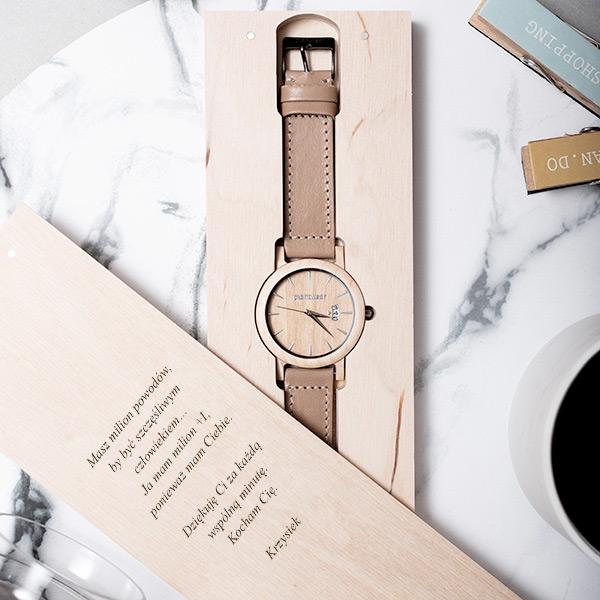 drewniany zegarek royal jawor falisty
