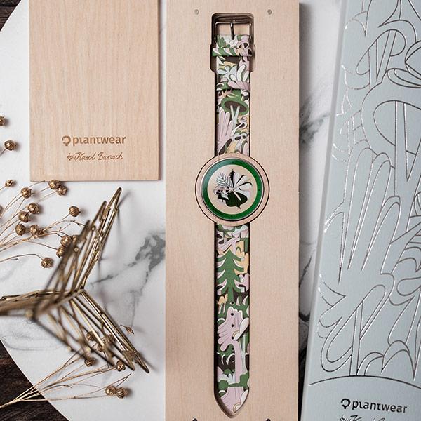 drewniany zegarek print