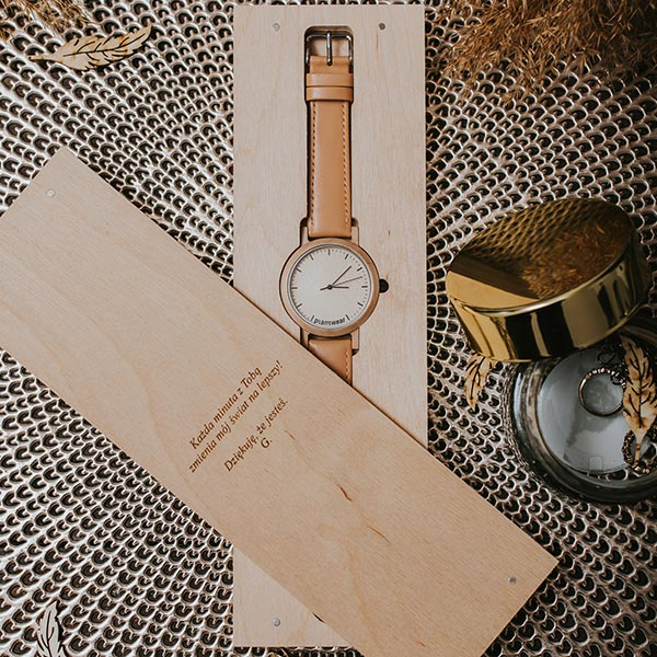 drewniany zegarek slim black