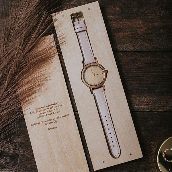 drewniany zegarek slim gold